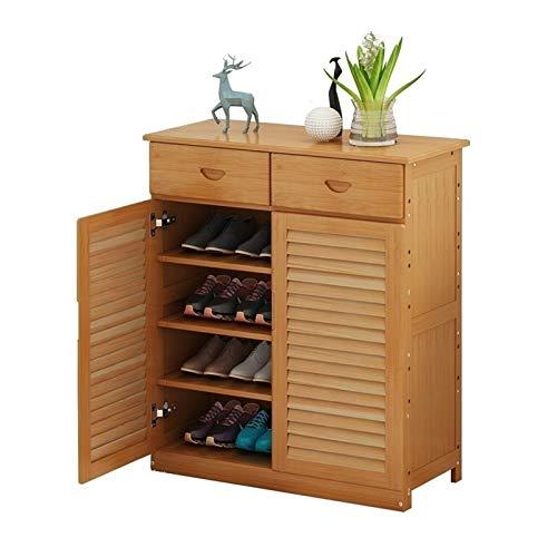 Estante de Zapatos Estante de zapatos de bambú con puertas, estantería de zapatos de pie Organizador de almacenamiento con cajón para la entrada de pasillo de entrada Sala de estar Organizador de Zapa