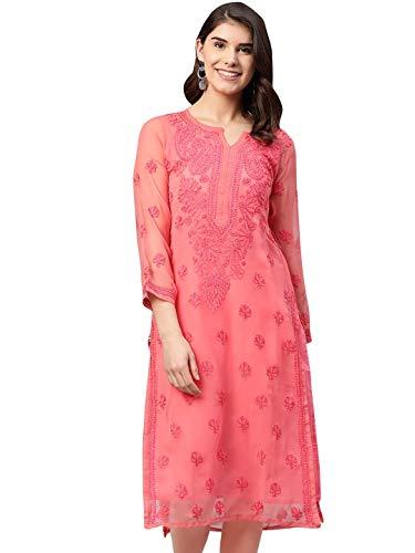 Details about  /Diwali Special Lucknawi Chikankari Anarkali Kurti Women Handmade Chikan Kurta