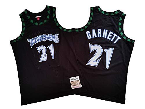 BXWA-Sports Camiseta de Baloncesto Masculino, Timberwolves NBA #21 Kevin Garnett Baloncesto Ropa cómoda/Malla/Enfriar Bordado Baloncesto Retro Jerseys,S