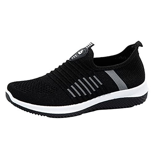 Zapatillas deportivas deportivas para correr para mujer, zapatillas de deporte para caminar, zapatillas de tenis ligeras, Black, 37.5 EU