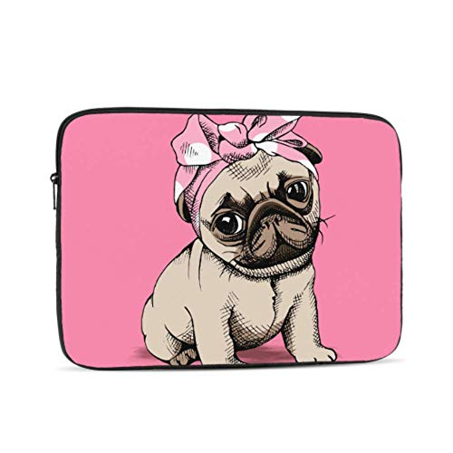 Puppy Pug Headband On Pink Pattern 17' Laptop Sleeve Bag 17.3' 17.4' Inch Notebook Computer Pc Neoprene Protection Zipper Case Cover