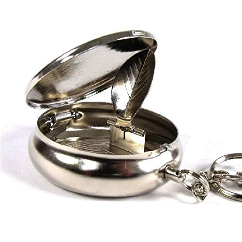 Smartdealspro Stainless Steel Portable Pocket Circular Ashtray Key Chain with Cigarette Snuffer