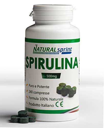 Naturalsprint Alga spirulina - Effetto Detox, Rinforzo Naturale delle Difese Immunitarie - Ricco di Proteine, Vitamine e Magnesio - 240 Compresse Vegan - Made in Italy
