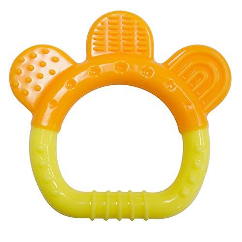 PREMYO Massaggia Gengive per Neonati Dentaruolo - Anello da Dentizione Bebè Silicone - Senza BPA Arancione Giallo