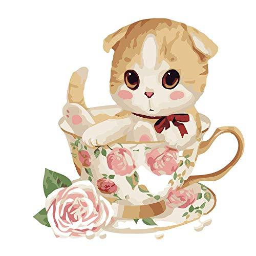 Pintar por Numeros para Adultos y Niños, Gato taza de té DIY Pintura por Números con Pinceles y Pinturas Decoraciones para 40 x 50 cm Sin Marco