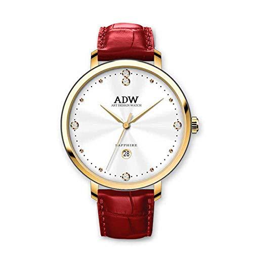Rebily 2021 Fluyendo Planeta Air Señoras Reloj Rosa Gold Cuero Band Watch Simple Style Quartz Women Fashion Watch 30m Impermeable (Color : Oro)