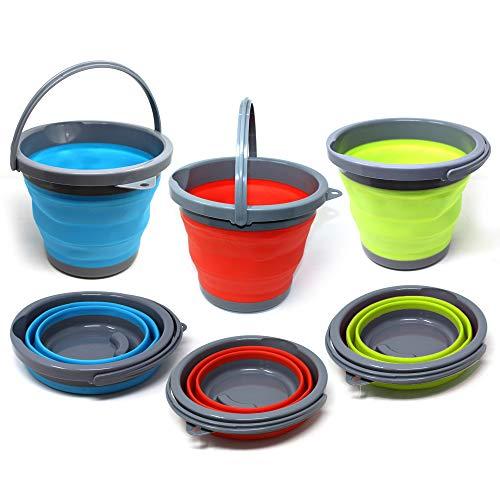 3 Pack 5 Ltr inklapbare emmers, draagbare huishoudelijke emmers - perfect voor camping, reizen, vissen, camper, raam wassen, huishoudelijke reiniging, ruimtebesparing - diverse kleuren