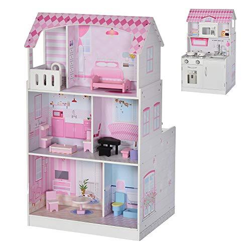 HOMCOM - Häuser für Modepuppen in Rosa, Größe 60L x 48B x 106H cm