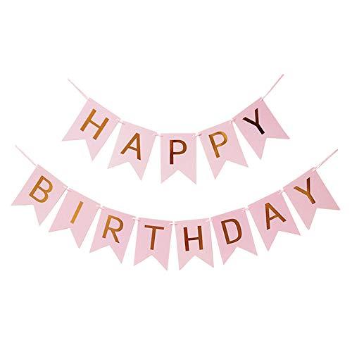 Haobase Guirnalda de cumpleaños con texto en inglés 'Happy Birthday'