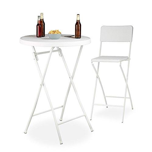 Relaxdays pie Plegable Bastian Redonda, Mesa de Bar, 110 x 80 x 80 cm, Look ratán, Resistente a Intemperie, Blanca, 80x80x110 cm