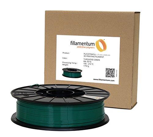 Fillamentum PLA-Filamentspule für 3D-Drucker (1,75 mm, Durchmessertoleranz +/- 0,05 mm), Türkis/Grün