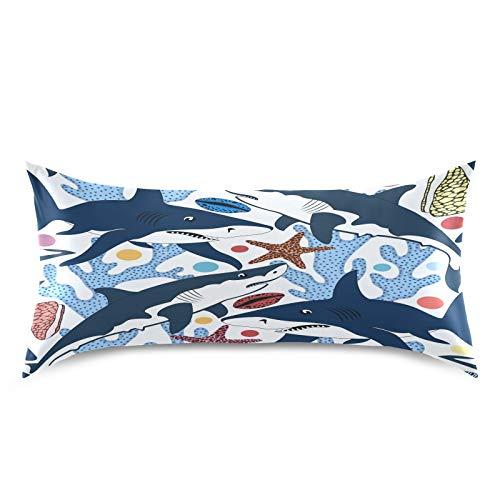 HaJie - Funda de almohada de satén para cabello y piel, diseño de estrellas de mar de coral y tiburón, 100% poliéster, tamaño estándar 50,8 x 101,6 cm, 1 unidad
