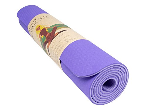 QUBABOBO 6 mm TPE Single/bicolor tappetino da yoga, ad alta densità e antistrappo per pilates, esercizi, ginnastica, fitness e allenamento con borsa da trasporto