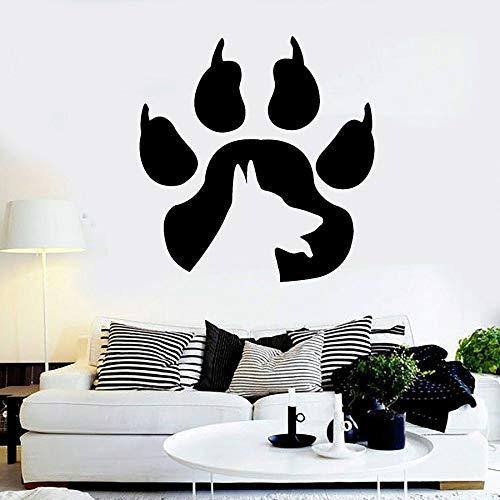 Calcomanía de pared con estampado de pata silueta perro animal tienda de mascotas decoración de la casa puerta y ventana pegatina de vinilo lindo mural creativo