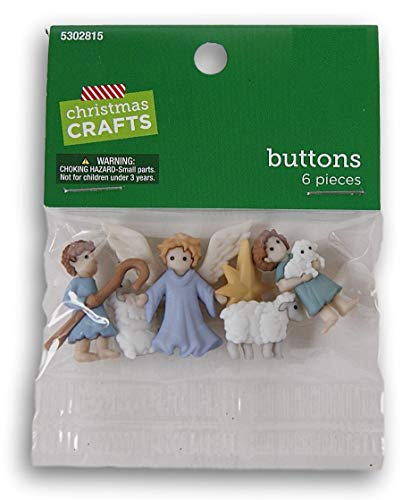 Christmas Crafts Nativity Shank Buttons - Shepherds, Angel, and Sheep