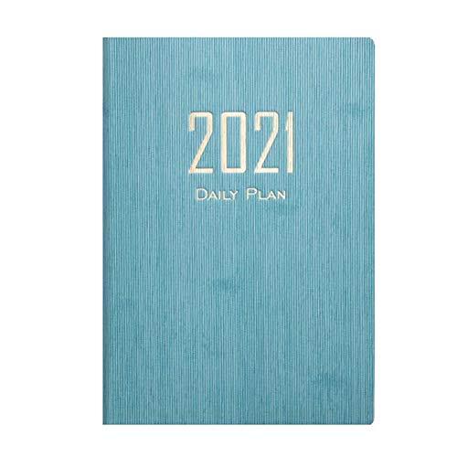 WANGIRL Diario 2 Piezas Agenda 2021 A5 con Vista Semanal Planificador 2021 con Páginas de Notas y Dirección Semana Vista Diario Que Inspira Productividad Tapa Blanda Calendario Diario (Color : Blue)