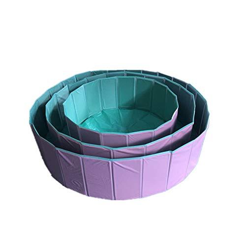ZDJR Tina de baño Plegable del Animal doméstico de la Piscina del Perro, Piscina Plegable plástica Dura del Perro, Piscinas al Aire Libre para el niño del Gato de los Perros,Pink,S(80×30cm/32×12inch)