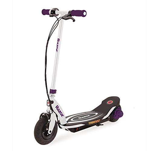 Razor Power Core E100 Kids Ride On 24V Motorized Electric Powered Scooter Toy Speeds up to 11 MPH with Brakes Twist Throttle and Pneumatic Tires for Kids Ages 8 Purple