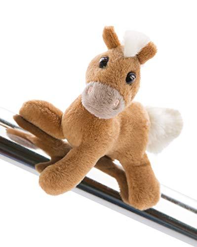 NICI 47103 Pony Lorenzo 12cm, MagNICI Plüschtier Mystery Hearts – Stofftiere & Kuscheltiere mit Magnet – Magnettiere-für Kühlschrank, Tafel, Metall & vieles mehr, BRAUN