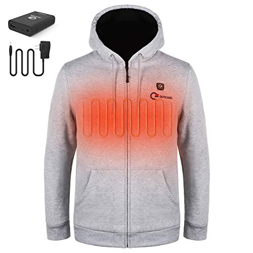 OUTCOOL Heated Hoodie Unisex Hooded Heated Sweatshirt (Type:WY1905)(M) Gray