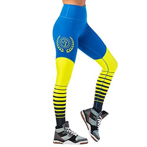 Zumba Leggings de Fitness Cintura Alta Entrenamiento Baile Compresión Pantalones Mujer, Jersey Blue, M