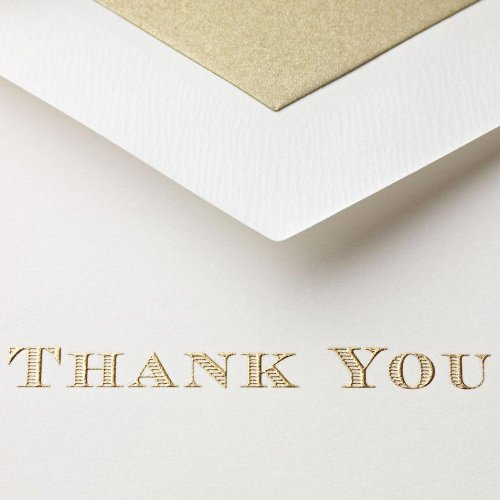 Crane & Co. Gold Hand Engraved Thank You Notes (CT1308),Pearl White Photo #2