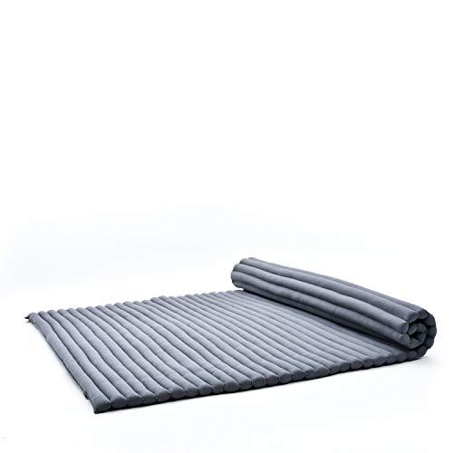 Leewadee Rollbare XXL Thai Matte, 200x145x5 cm, Extrabreite Gästematratze Yogamatte Massagematte Ökologisches Naturprodukt, Kapok, anthrazit