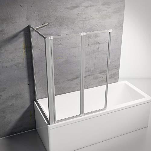 Schulte D133275 01 50 Smart Duschabtrennung für Badewanne alunatur, 2-teilig mit Seitenwand 73-76 cm