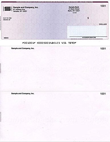 """100 Printed Laser Computer Voucher Checks""""High Security"""" Compatible with Quickbooks - Burgundy/Blue Cubed"""