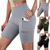 Pantalones cortos sexy para mujer, color sólido, cintura alta, elásticos, talla grande, pantalones cortos, entrenamiento, correr, yoga, con bolsillo