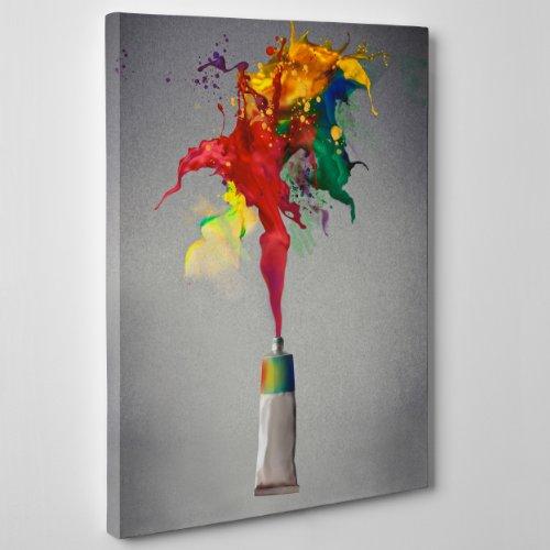 QUADRO MODERNO su Tela Canvas - ASTRATTO TUBETTO DI COLORE AD OLIO ACRILICO - Style Damien Hirst - 50x70cm - Spessore 2cm
