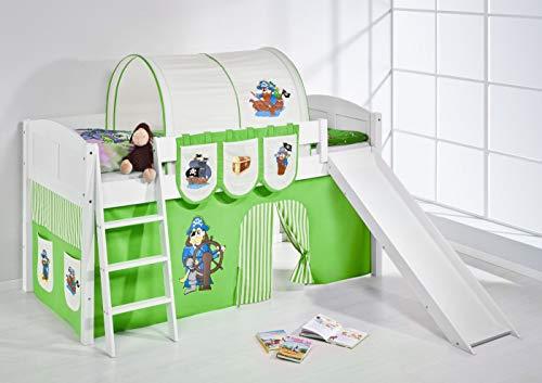 Lilokids Spielbett IDA 4106 Pirat Grün Beige-Teilbares Systemhochbett weiß-mit Rutsche und Vorhang Kinderbett, Holz, 208 x 220 x 113 cm