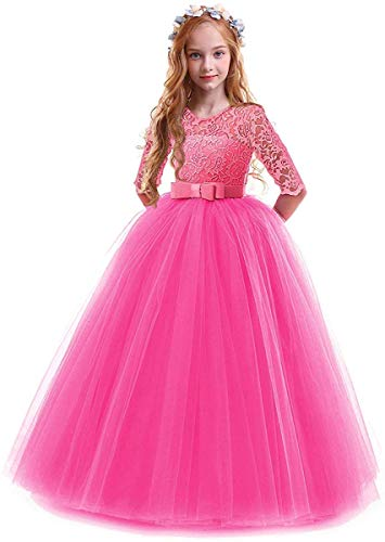 Toddler Girl's Embroidery Tulle Lace Maxi Flower Girl Wedding Bridesmaid Dress 3/4 Sleeve Long A Line Pageant Formal Prom Dance Evening Gowns Casual Holiday Party Dress Rose 13-14