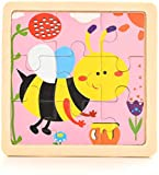 CHRONSTYLE Puzzle de 9 piezas de madera para niños de 2 a 5 años, juego de 4 puzles de animales e insectos para bebés, cerdo de leche, vaca, pollo, caballo, oveja (abeja, abeja), abeja.