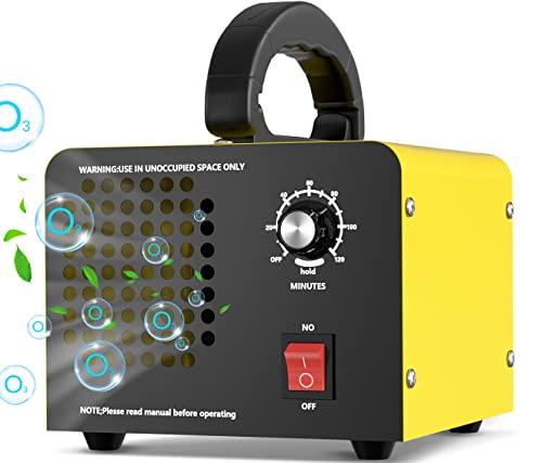 Movstriker Generador de Ozono, 10,000 mg/h Portátil Hogar Dispositivo de Ozono O3 Purificador de Aire de Ozono Industrial con Temporizador de 120min, para Habitaciones, Garajes, Hoteles, Hasta 300㎡