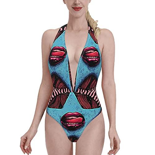 Bañadores Sci-fi Abstract Strong Red Sultry Lips Red Toot Bikini de una Pieza con Cuello en V para Mujer, Sujetador con Relleno, Traje de baño en la Playa S
