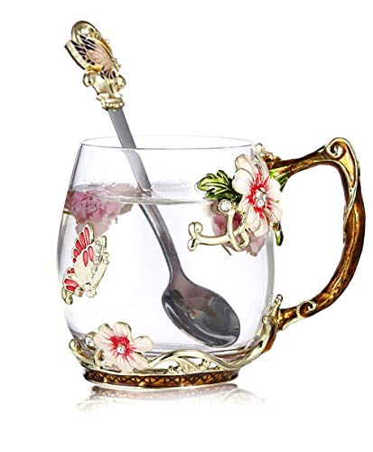 Luka Tech Handmade Enamel Butterfly Flower Glass Coffee Mugs Tea Cup with...