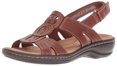 Clarks Women's Leisa Vine Platform, Dark tan Leather, 9.5 M US