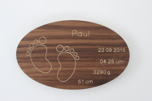 Geburtsteller mit Gravur aus Holz Taufteller mit Namen Datum Füßchen Baby Taufgeschenk zur Geburt Taufe personalisiert individuell Taufpate: Nussbaum