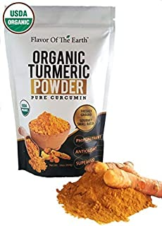 Organic Turmeric Root Powder (Curcumin) Ultra Pure USDA Certified Healthy Antioxidant Vegan Superfood Supplement 1 Pound Bulk Spice Package Fresh Harvested By Flavor Of The Earth