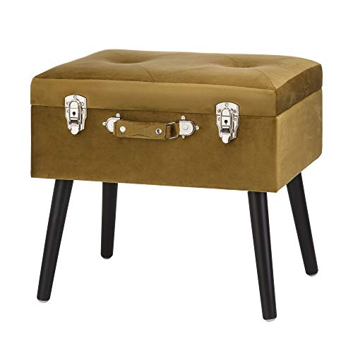 Glitzhome Modern Velvet Footstool Luxurious Velvet Storage Ottoman Upholstered Footrest Stool Seat Organizer Soft Fabric Padded Seat Vanity Footstool Accent Furniture Golden Yellow