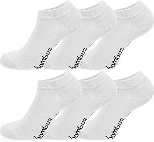 normani 6 Paar Bambus Sneaker Socken in verschiedenen Designs - weiches Material Farbe Weiß Größe 43/46