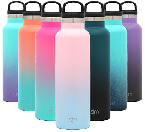 Simple Modern 20oz Ascent Water Bottle - Hydro Vacuum Insulated Tumbler Flask w/Handle Lid - Double Wall Stainless Steel Reusable - Leakproof Ombre: Sweet Taffy