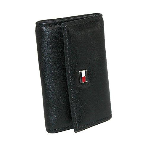 Tommy Hilfiger Men's Leather Key Case, Black/White