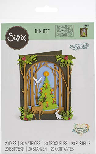 Sizzix Thinlits Die Set 663611 Tree Courtney Chilson, 20 Pack, Christmas Shadow Box, One Size