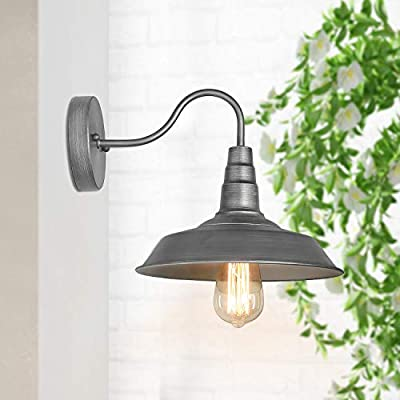 LALUZ Wall Sconce Pendant Lighting Industrial Gooseneck Barn Light Fixture 1-Light Warehouse Wall Lamp, Silver Brushed