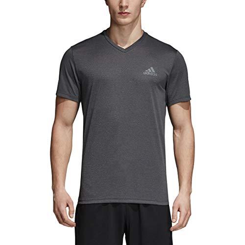 Adidas Hombres - Camiseta esencial para entrenamiento Tech V - S16AXM151, S, Dark Grey Heather/Vista Grey