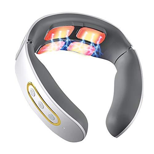 Masajeador de Cuello eléctrico, Masajeador Cervical cuello pulso Calefacción, Electromagnético Masajeador de espalda, Maseajador de Cervicales de Inalámbrico con 15 niveles 3 modos