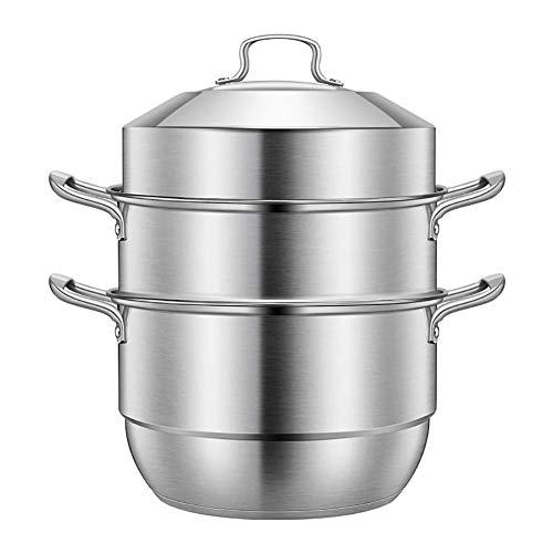 yunyu Juego de cocción al Vapor de 3 Niveles de Acero Inoxidable Seguro por inducción -La Forma Saludable de cocinar Sus Verduras -Mangos de Acero Resistentes -Construcción de 3 Niveles -28cm