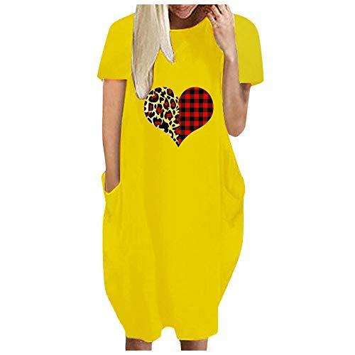 DAIFINEY Damer fritidsklänning tryck rund hals lös passform knälång klänning midiklänning skjortklänning med ficka korta ärmar vardagsklänning